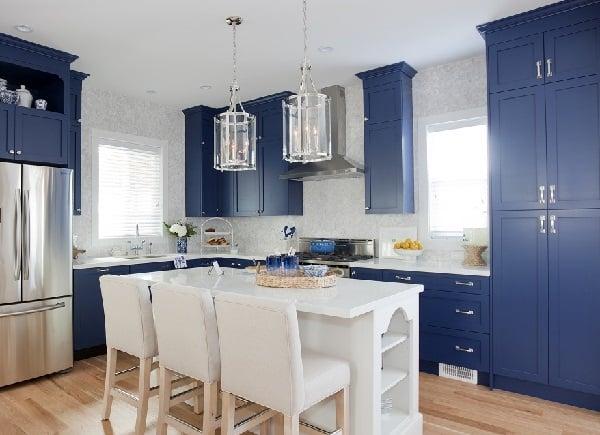 Blue Kitchen Cabinets with custom white kitchen island